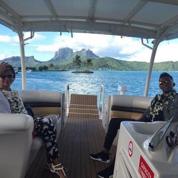 Samuel Eto'o and wife in Bora Bora enjoying honeymoon