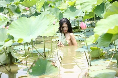 Idea and Nude girl in pond