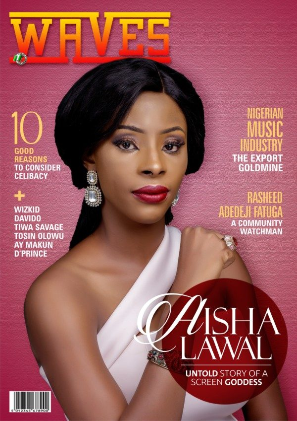 Nollywood actress Aisha Lawal covers Waves Magazine's August Edition