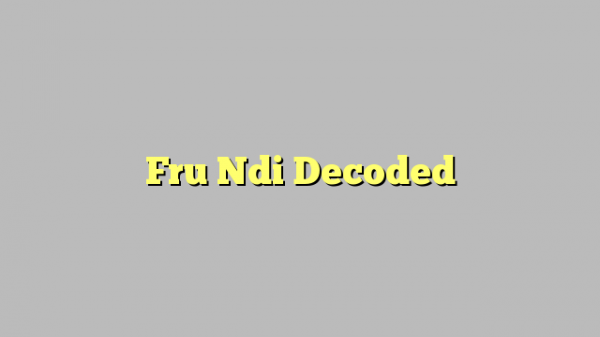 Fru Ndi Decoded