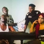 Fonde Collins on set with Syndy Emade, Desmond Wyte; Rumble TV series